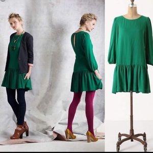 Anthropologie Meadow Rue Green Dress Size 6